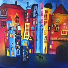 Sschilderijen van Kim Duitsman. KLeurrijk acryl met spuitbussen