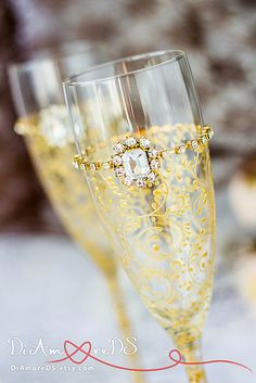 Gold Art Deco Gatsby Style \ wedding Champagne Flutes