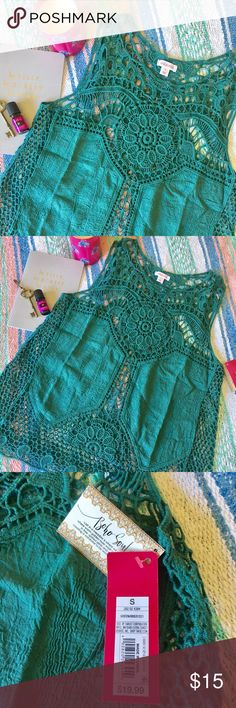 Boho Lace Tank Forest Green Boho Lace Tank, Size S. NWT 💚 Tops Tank Tops