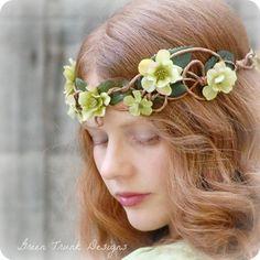 Faerie Flower Circlet, Chartreuse Green Elf Headpiece