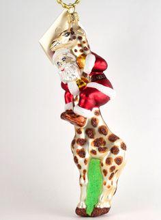 Giraffe In Red Sweater Glass Ornament | Giraffe, Ornament and ...