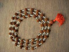 Full Rudraksha & Crystal Mala Yoga Meditation Shiva Mala 108+1 Beads