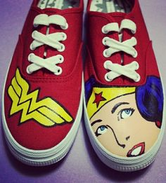 Custom Painted Wonder Woman Shoes by ArtofaSilentBee on Etsy Painted Toms, Painted Canvas Shoes, Custom Painted Shoes, Painted Sneakers, Hand Painted Shoes, Custom Shoes, Vans Old Skool, Wonder Woman Shoes, Sharpie Shoes