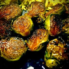 Roasted Brussels Sprouts - just olive oil, balsamic vinegar, and S+P (400 deg, 20-30 min)