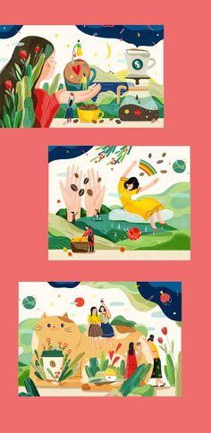 微笑咖啡馆 Smile Cafe on Behance. Art and illustration Flat Design Illustration, People Illustration, Children's Book Illustration, Character Illustration, Digital Illustration, Tableaux D'inspiration, Emoticons, Illustrations And Posters, Art Plastique