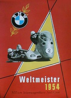 Vintage BMW Poster from 1954 Celebrating Noll & Cron winning the 500cc Sidecar world Championship for 1954