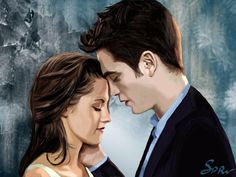 Bella And Edward In The Twilight Saga Drawing. Twilight Poster, Twilight Breaking Dawn, Twilight Pictures, Twilight Series, Twilight Movie, Vampire Twilight, Twilight Edward, Twilight Sparkle, Kristen Stewart