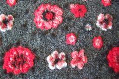 Wollwalk Blumen Flausch Jacquard Walk bunte Wollmischung