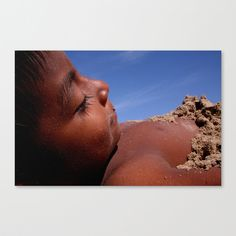 Wittos (Blue) Little Indian Sand Boy  Stretched Canvas by David Hernández-Palmar - $85.00