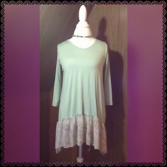 """Pastels """"Ballerina Tunic""""  chiffon hem A pastel mint  sage pastel ballerina tunic with chiffon by Pastel Clothing. Various size available. True to size. 95% via rose, 5% spandex? Made in USA. Pastels Clothing Tops Tunics"""