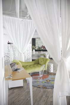 Sheer White Curtains To Layer With Rope Dividers. Can Be Tied Or Pulled  Back With