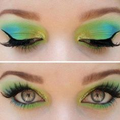 Summery green, turquoise and gold eye shadow