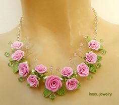Pink roses  Pink jewelry set  Handmade roses  by insoujewelry