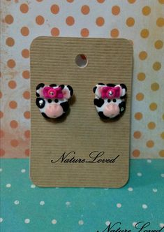 Cow Earrings by Natureloved on Etsy, $15.00  Bought these for my niece and little cousin