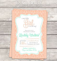 tribal Girl Baby Shower Invitation peach & mint by DigiBabyDesign #tribal #babyshower #sweetbabygirl @digibabydesign