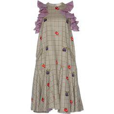 Rahul Mishra Drop Waist Flared Dress (20.730 ARS) ❤ liked on Polyvore featuring dresses, flouncy dress, flare dress, ruffle dress, flared dresses and round neck dress