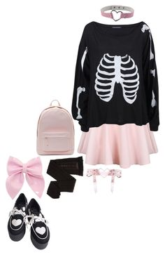 """Pastel Goth Winter"" by this-perfect-dream ❤ liked on Polyvore featuring Wildfox, PB 0110, Trasparenze and Bocage"