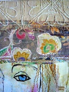 Sewing, paint, fabric, paper