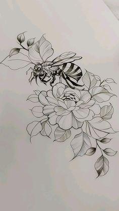 Honey Bee Tattoo, Bumble Bee Tattoo, Horse Tattoo Design, Forearm Tattoo Design, Beautiful Tattoos For Women, Beautiful Flower Tattoos, Time Tattoos, Bat Tattoos, Tatoos