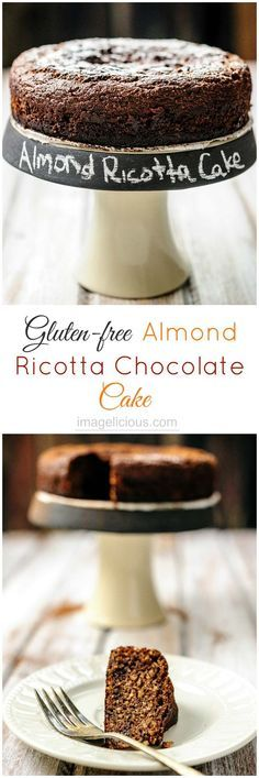 This delicious Gluten-free Almond Ricotta Chocolate Cake is easy to make. It's moist, dense, flavourful, and healthy. It's filled with healthy ricotta and almonds, has very little sugar and no oil or butter.