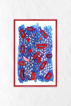 BrightPopShop@KKMart23 Folk Art Mandala 2020 Red Flowers Framed Art by Kayla Kinsella Meier