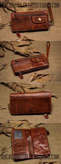 ROCKCOW Men's Vintage Super Premium Full Grain Leather Wallets P0075