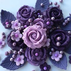 #Purple rose bouquet edible sugarpaste #cupcake flowers #decorations toppers,  View more on the LINK: http://www.zeppy.io/product/gb/2/251919714835/