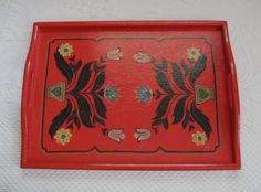 Hand Painted Red Folk Art Tray by vintagous on Etsy, $26.00