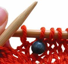 Knitting With Beads, Non-Prestring Method.