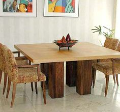 Modern Wood Square Dining Table