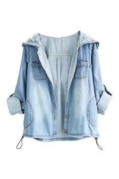ROMWE | Rolled-up Hoodied Blue Denim Coat