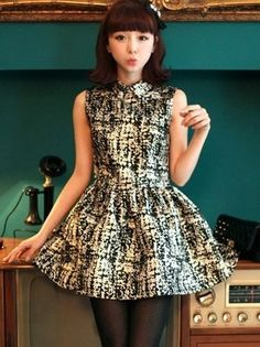 Retro POLO collar gold jacquard sleeveless dress $14.97