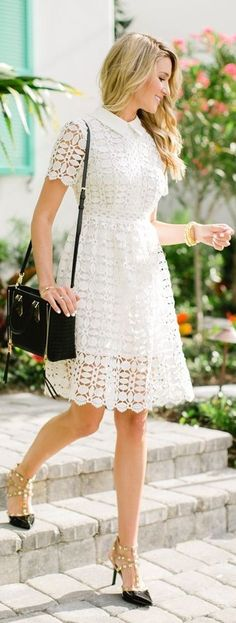 #spring #trends #fashionistas #outfitideas | Little White Crochet Dress + Black Rockstuds | Blonde Expeditions