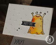 Stampin' Up! Yummy in My Tummy Monster Karte zum Geburtstag für kleine und große Kinder - Party Time Card.
