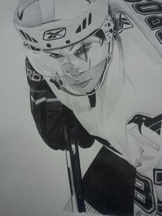Sidney Crosby ink drawing