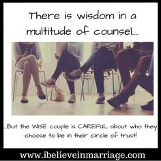 """Once you say """"I Do"""", the people you seek advice from at WORK, in your BUSINESS, where you VOLUNTEER or attend church...anybody that is speaking wisdom into you is ultimately influencing your relationship...so you and your spouse MUST be careful about WHO you allow in your circle of trust! ---------------------- #iBelieveInMarriage #IBIM #RobinMay #Marriage #Dating #Courting #Love #Support #Life #Counseling #Coaching #MarriageMatters #ChristianCouples #Couples"""