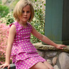 Green Pink Dot Girls dress  twist back ruffle by SchoolHouseFrock, $55.00