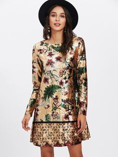 SheIn offers Mixed Print Velvet Dress & more to fit your fashionable needs. Long Sleeve Floral Dress, White Floral Dress, Floral Tunic, Sleeve Dresses, Floral Dresses, Dress Long, Vestidos Vintage, Vintage Dresses, Mélanger Les Impressions