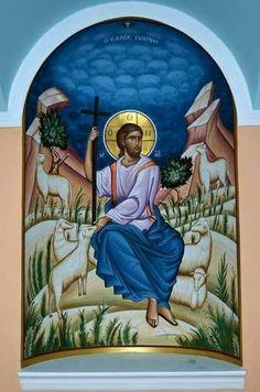 Christ The Good Shepard Images Of Christ, Religious Images, Religious Icons, Religious Art, Byzantine Icons, Byzantine Art, Christ The Good Shepherd, Christian Artwork, Biblical Art