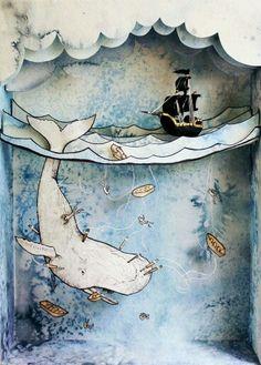 Moby Dick Shadowbox by Suzette Korduner, via BehanceYou can find Altered art and more on our website.Moby Dick Shadowbox by Suzette Korduner, via Behance Shadow Box Kunst, Shadow Box Art, Origami, Art Altéré, Paper Art, Paper Crafts, Ideias Diy, Assemblage Art, Freelance Illustrator