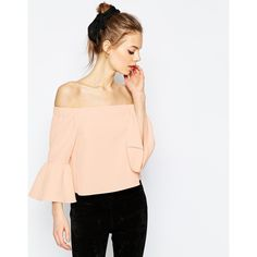 ASOS Off The Shoulder Top With Ruffle Sleeve (190 SAR) ❤ liked on Polyvore featuring tops, blouses, pink, pink off shoulder top, crop blouse, stretch blouse, stretch crop top and pink blouse
