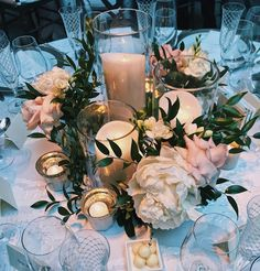 Hottest 7 Spring Wedding Flowers to Rock Your Big Day--peonies and greenery wedding centerpieces, Romantic Wedding Centerpieces, Candle Centerpieces, Floral Centerpieces, Pillar Candles, Wedding Favors, Wedding Decorations, Centerpiece Ideas, Wedding Ideas, White Centerpiece