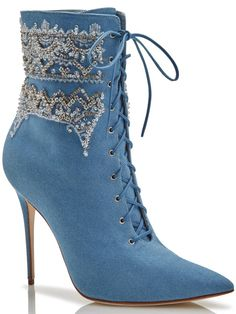 Manolo Blahnik x Rihanna lace-up booties