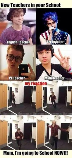 The only thing is Luke would definitely be the math teacher because Liz Hemmings and Calum would obviously be the pe teacher because he was almost a professional soccer player zoo