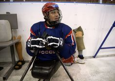 Captain of the Russian national sledge hockey team Vadim Selyukin during the team's training session in Aleksin. (RIA Novosti / Grigoriy Sis...