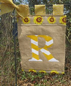 burlap sunflower garden flag initial burlap yard flag designs httpwww