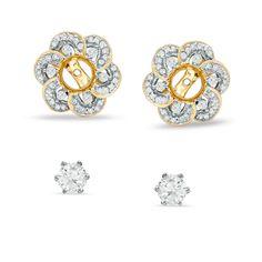 1 CT. T.W. Diamond Stud Earrings with Carnation Earring Jackets in 14K Gold