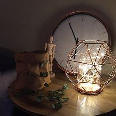 Fairy light filled copper geo candle. Our urban box. Kmart styling