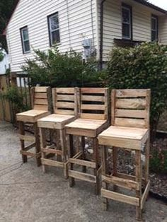 Diy Pallet High Bar Stools Pallet Benches, Pallet Chairs & Stools