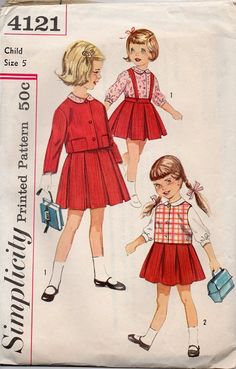 school uniform patterns | 1960s Girls School Uniform Simplicity from Adele Bee Ann Patterns